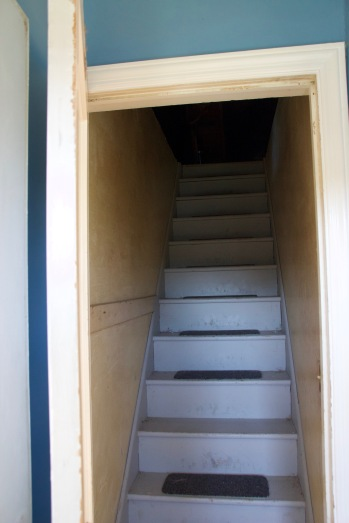 Walk into a door with attic stairs...